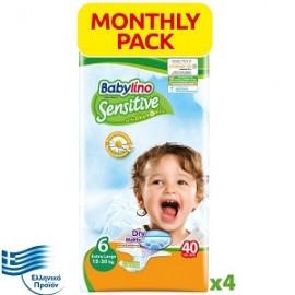 Babylino Sensitive Extra Large Νο.6 (15-30kg) Απορροφητικές & Πιστοποιημένα Φιλικές Παιδικές Πάνες, 40τεμάχια