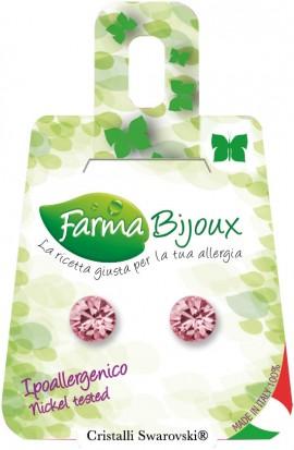 Farma Bijoux  Σκουλαρίκια Ροζ Κρύσταλλο 6.2mm, 1 Ζευγάρι