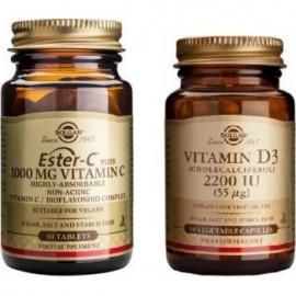 Solgar Ester-C Vitamim C 1000mg για τη Θωράκιση του Οργανισμού, 30 κάψουλες & Solgar Vitamin D3 2200iu 55μg για την Ενίσχυση του Ανοσοποιητικού, 50caps
