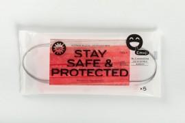 Larisa Face Cover Stay Safe & Protected Emoji Red, Ιατρική - Χειρουργική Μάσκα Type II Κόκκινη 5τεμ