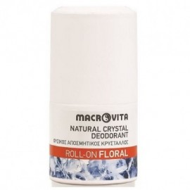 Macrovita Natural Crystal Deodorant Φυσικός Αποσμητικός Κρύσταλλος Roll On Floral 50ml