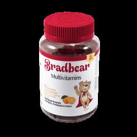 Παιδικές Πολυβιταμίνες για Παιδιά Άνω των 3 ετών, Χωρίς Γλουτένη, Συμπλήρωμα Διατροφής με Βιταμίνες, Ψευδάργυρο & Σελήνιο, Bradex Bradbear Multivitamins, 60 ζελεδάκια Με Γεύση Πορτοκάλι