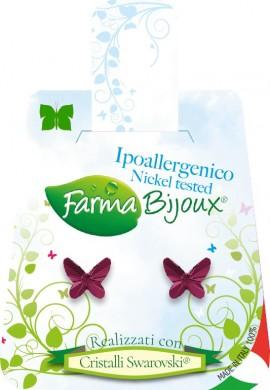 Farma Bijoux  Σκουλαρίκια Μωβ Πεταλούδα 8mm, 1 Ζευγάρι