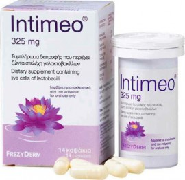 Frezyderm Intimeo Συμπλήρωμα Διατροφής με Ζώντα Στελέχη Γαλακτοβακίλλων για την Υγεία της Ευαίσθητης Περιοχής 325mg, 14 Κάψουλες