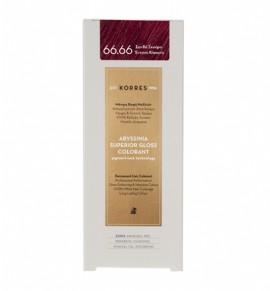 Korres Abyssinia Superior Gloss Colorant Μόνιμη Βαφή Μαλλιών 66.66 Ξανθό Σκούρο Έντονο Κόκκινο 50ml