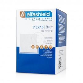 Alfashield Alfa Gauze Αποστειρωμένο Επίθεμα Γάζας 7.5 x 7.5cm 8ply 100τμχ