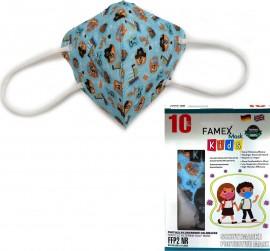 Famex Kids Mask FFP2 NR Blue Pirates, Παιδική Μάσκα Μιας Χρήσης Γαλάζια με Πιρατές 10τμχ