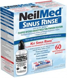 NeilMed Sinus Rinse, Σύστημα Ρινικών Πλύσεων Για Ενήλικες, 1 εύκαμπτη φιάλη + 60 φακελάκια