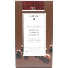 Korres Argan Oil Advanced Colorant Μόνιμη Βαφή Μαλλιών 5.6 Καστανό Ανοιχτό Κόκκινο 50ml