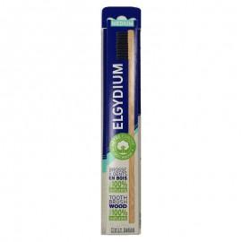 Elgydium Wood Toothbrush Medium Ξύλινη Eco Friendly Οδοντόβουρτσα Μέτρια Μαύρη, 1τμχ