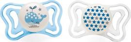 Chicco Physio Light Σιλικόνης Blue Whale/Stars, Εργονομική Πιπίλα με Θηλή Σιλικόνης για Ηλικίες 2-6m 2τμχ