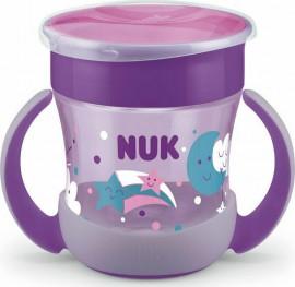 Nuk Mini Magic Cup Night, Ποτηράκι με Χείλος και Καπάκι που Φωσφορίζει στο Σκοτάδι 6m+ Μωβ, 160ml
