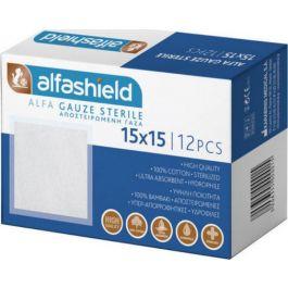 Alfashield Alfa Gauze Αποστειρωμένη Γάζα 15cm x 15cm, 12τεμάχια