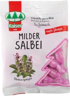 Kaiser Καραμέλες Milder Salbei με Φασκόμηλο & 13 Βότανα για το Βήχα - Χωρίς Ζάχαρη, 60gr