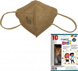 Famex Kids Mask FFP2 NR Beige, Παιδική Μάσκα Μιας Χρήσης Μπεζ , 10τμχ