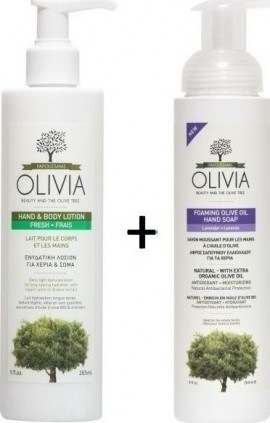 Olivia Gift Set Ενυδατική Λοσιόν για Χέρια & Σώμα 265ml & ΔΩΡΟ Αφρίζον σαπούνι καθαρισμού για τα χέρια με Ελαιόλαδο και εκχύλισμα Λεβάντας, 265ml