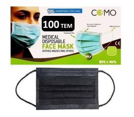 COMO Medical Mask 100 τεμαχίων ΜΑΥΡΗ-Ανθρακί  Χειρουργική Μάσκα Ελληνικής Κατασκευής BFE >99%, Type II