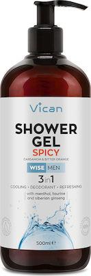 Vican Wise Men Shower Gel Spicy Ανδρικό Αφρόλουτρο με Αίσθηση Φρεσκάδας - Απαλό Άρωμα Κάρδαμου & Bitter Orange, 500ml