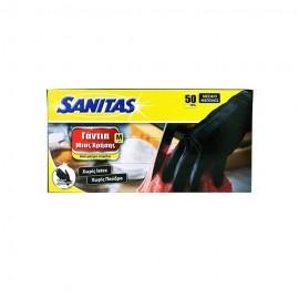 Γάντια Μιας Χρήσης Μαύρα Νιτριλίου Sanitas, χωρίς Latex, χωρίς Πούδρα No Medium, 50τμχ