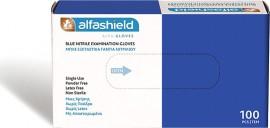 AlfaShield Gloves Εξεταστικά Γάντια Νιτριλίου Μιας Χρήσεως Small, 100τμχ
