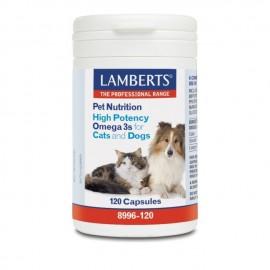 Lamberts Pet Nutrition High Potency Omega 3s for Cats & Dogs, Συμπληρωματική Ζωοτροφή με Ωμέγα 3 Λιπαρά Οξέα, 120 κάψουλες (8996-120)