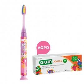 Gum Set Junior Light-Up Ροζ Soft Οδοντόβουρτσα + Δώρο Junior Οδοντόκρεμα 7-12 Ετών Tutti Frutti 50ml