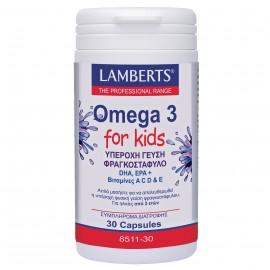 Lamberts Omega 3 For Kids Berry Bursts, Συμπλήρωμα Ω-3 Λιπαρά Οξέα για Παιδιά με Γεύση Φραγκοστάφυλο, 30 Μασώμενες Κάψουλες (8511-30)