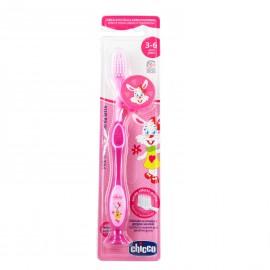 CHICCO Παιδική Οδοντόβουρτσα 3-6 ετών Χρώμα Ροζ Λαγουδάκι 1τμχ