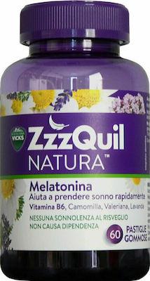 ZzzQuil Natura Μελατονίνη Συμπλήρωμα διατροφής με Μελατονίνη με Γεύση Φρούτα του Δάσους, 60 ζελεδάκια
