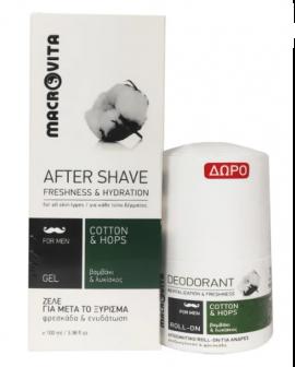 Macrovita Πακέτο Προσφοράς After Shave Gel for Men With Cotton & Hops 100ml & Δώρο Deodorant Roll on