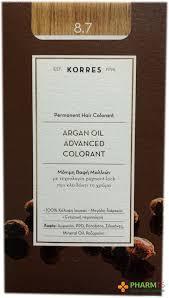Korres Argan Oil Advanced Colorant Μόνιμη Βαφή Μαλλιών 8.7 Καραμέλα 50ml