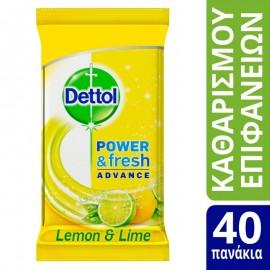 Dettol Αντιβακτηριδιακά Μαντηλάκια Καθαρισμού Επιφανειών Lemon & Lime Burst, 40 τεμάχια
