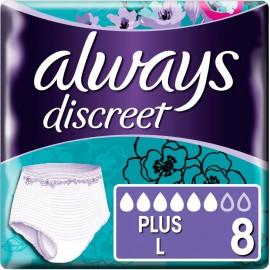 Always Discreet Pants Plus Large Εσώρουχο μιας χρήσης για ακράτεια, 8τμχ