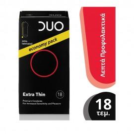 DUO Προφυλακτικά Premium Extra Thin Economy Pack Πολύ Λεπτά, 18τμχ