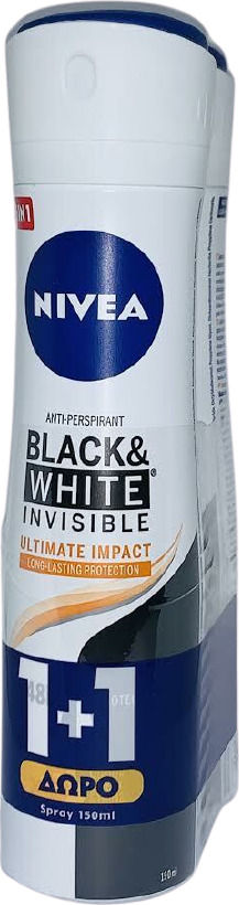Nivea Promo Αποσμητικό Γυναικείο Spray 48h Προστασίας Deodorant Spray Black & White Invisible Ultimate Impact Long Lasting Protection 2x150ml 1+1 ΔΩΡΟ