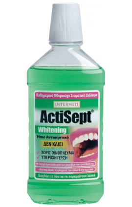 Intermed Actisept Whitening Mouthwash Καθημερινό Φθοριούχο Στοματικό Διάλυμα για Λευκά Δόντια, 500 ml