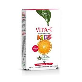 Power Health Vita–C Kids Stevia, Συμπλήρωμα διατροφής με Βιταμίνη C για παιδιά, 30 Μασώμενα Δισκία
