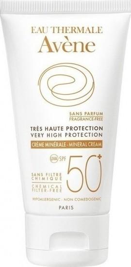 Avene Creme Minerale SPF50+, Αντιηλιακή Κρέμα Προσώπου για το μη Ανεκτικό & Ευαίσθητο Δέρμα Solaire, 50ml