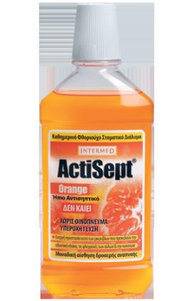 Intermed Actisept Mouthwash Orange Καθημερινό Φθοριούχο Στοματικό Διάλυμα με Γεύση Πορτοκάλι, 500 ml