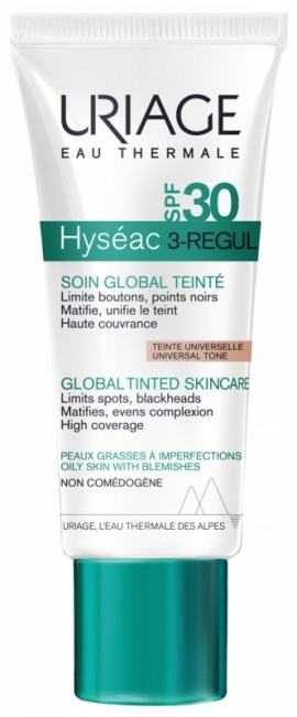 Uriage Hyseac 3 Regul Global Tinted Skin Care SPF30, Ενυδατική Κρέμα Προσώπου με Χρώμα για Λιπαρές & με Τάση Ακμής Επιδερμίδες, 40ml
