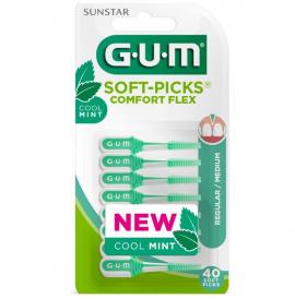 Gum Soft Picks Comfort Flex Cool Mint (670) Medium Μεσοδόντια Βουρτσάκια, 40τεμ