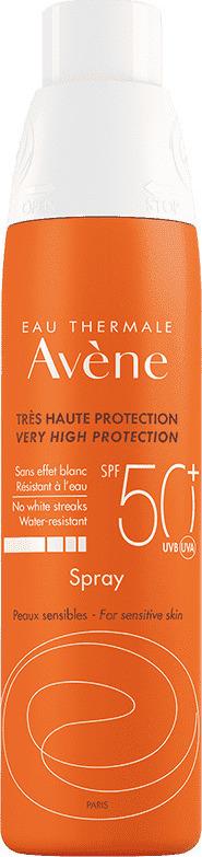 Avene Solaire Spray SPF50+, Αντιηλιακό Σπρέι Προσώπου & Σώματος για Ευαίσθητο Δέρμα, 200ml
