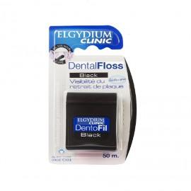 Elgydium Dental Floss Black Chlorhexidine, Οδοντικό Νήμα Μαύρο Κερωμένο Με Χλωρεξιδίνη, 50m