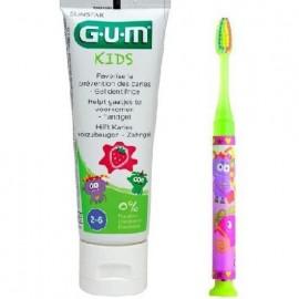 Gum Light-Up 903 Παιδική Οδοντόβουρτσα Με Φωτεινή Ένδειξη Χρώμα Κίτρινο και Δώρο Οδοντόκρεμα Gum Kids 2-6 Ετών, 50ml