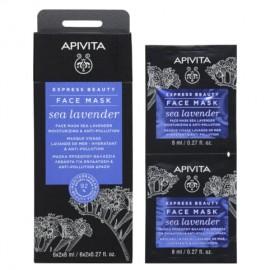 Apivita Express Beauty New Face Mask Sea Lavender - Μάσκα Ενυδάτωσης Προσώπου με Θαλάσσια Λεβάντα 2x8ml