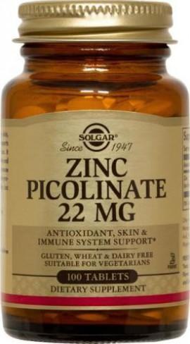 Solgar Zinc Picolinate 22mg Συμπλήρωμα Διατροφής Ψευδαργύρου για Τόνωση του Ανοσοποιητικού & της Αναπαραγωγικής Υγείας, 100tabs