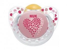 Nuk Trendline Adore Πιπίλα Καουτσούκ Ροζ Καρδιά 6-18m 1τμχ