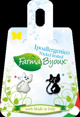 Farma Bijoux Σκουλαρίκια Pareja De Gatos B & W 10mm, 1 Ζευγάρι