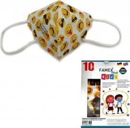 Famex Kids Mask FFP2 NR Emoticon, Παιδική Μάσκα Μιας Χρήσης Λευκή με Φατσούλες, 10τμχ