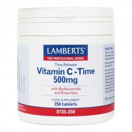 Lamberts Vitamin C Time Release 500mg, Συμπλήρωμα με Βιταμίνη C για Τόνωση & Ενίσχυση του Ανοσοποιητικού, 250 ταμπλέτες (8135-250)
